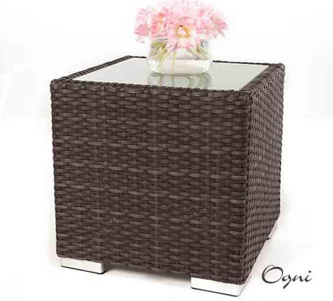 table d appoint en rotin synth tique avec verre pour. Black Bedroom Furniture Sets. Home Design Ideas