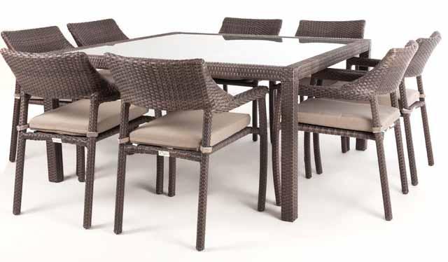 Table d ner patio carr e nico pour 8 verre - Table carree pour 8 personnes ...