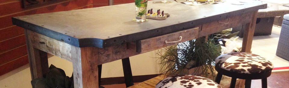 industrial looking furniture. industrial looking furniture tables and stools made of recycled wood or slate