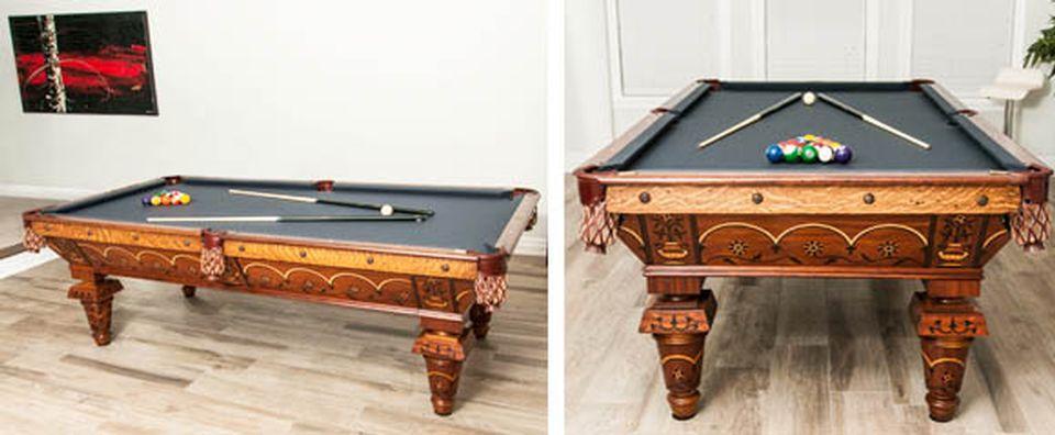 Restauration de table de billard antique et réparation après sinistre