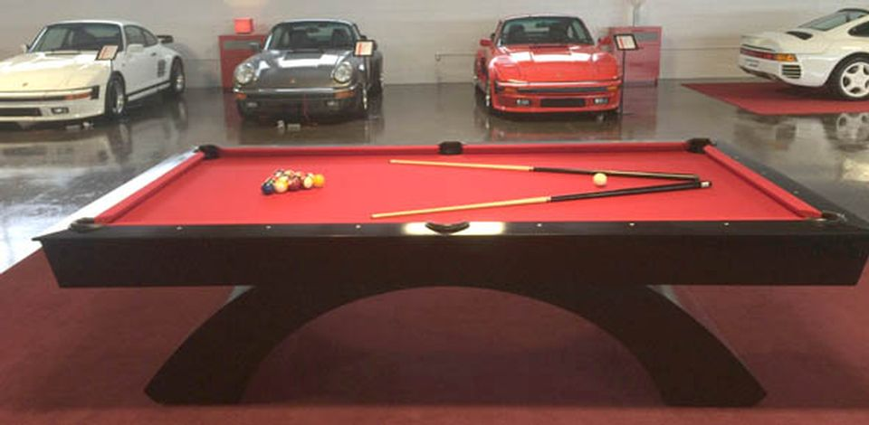 Custom built modern pool table by manufacturer designer Palason Billiards