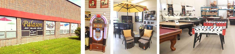 Bullz est un magasin de meubles de jardin ainsi que parasols et foyers exterieur et tables de billard situé à Laval Quebec
