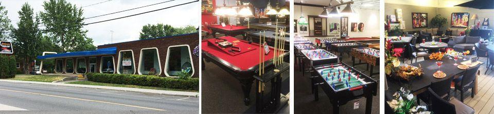 Palason Montreal est un magasin de tables de billard, tables de ping pong, babyfoot soccer, ainsi qui représente un gamme complète de meubles de jardin ainsi que parasols et foyers exterieur et tables de billard situé à Montréal sur le boulevard le boulevard Cavendish en face du magasin IKEA