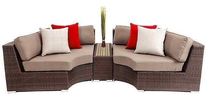 Demiluna three-piece outdoor furniture lounge sofa set