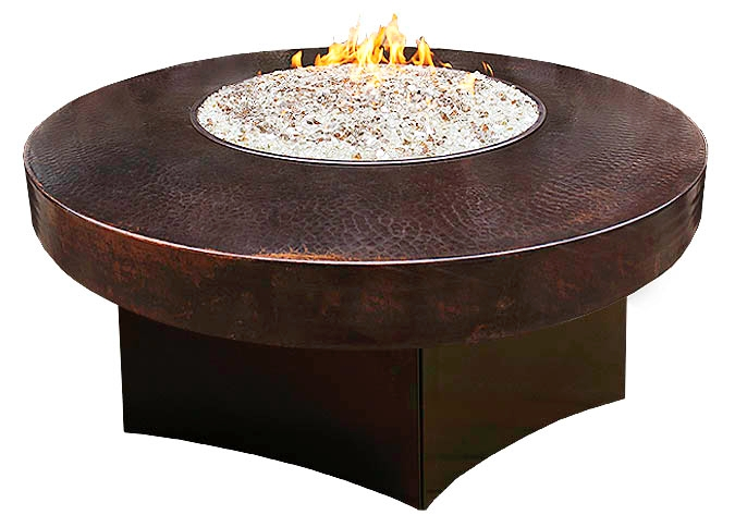 Foyer ext rieur cuivre martel table de feu ronde - Table metal exterieur ...