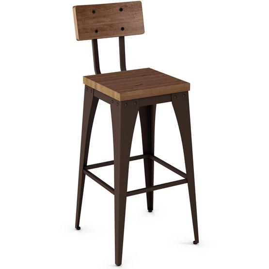 tabouret de style industriel amisco upright avec si ge en bois. Black Bedroom Furniture Sets. Home Design Ideas