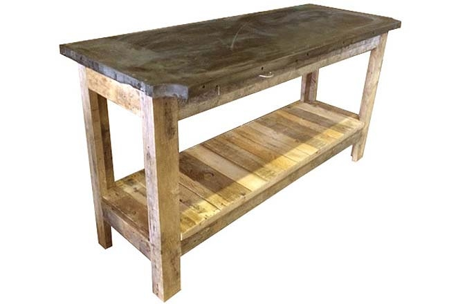 Table de bar industrielle en bois recyclé et ardoise ré-usiné