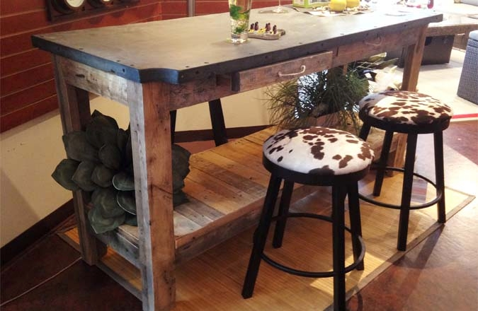 industrial looking furniture. industrial bar table recycled wood and repurposed slate looking furniture
