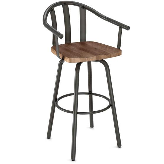 Amisco Gatlin metal and repurposed wood bar stool