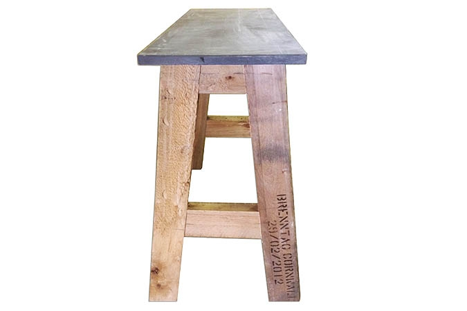 Re-purposed recycled wood end table with slate top