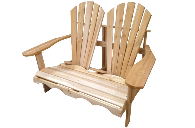 Adirondack loveseat double chair in Canadian white Cedar