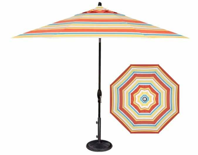 Striped patio umbrella in 9 foot Barcelona fabric by Treasure Garden