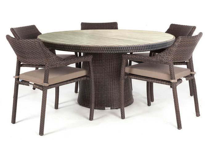 Ensemble de table de patio ronde avec dessus en faux Teck réaliste