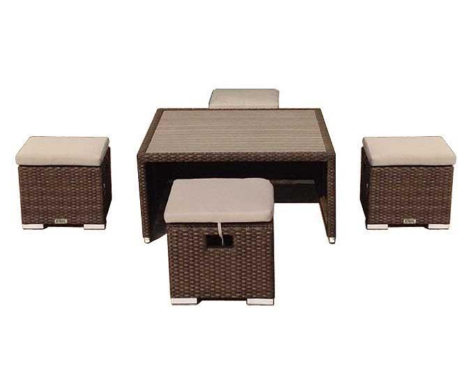 Kangaroo outdoor coffee table and ottoman footrest set
