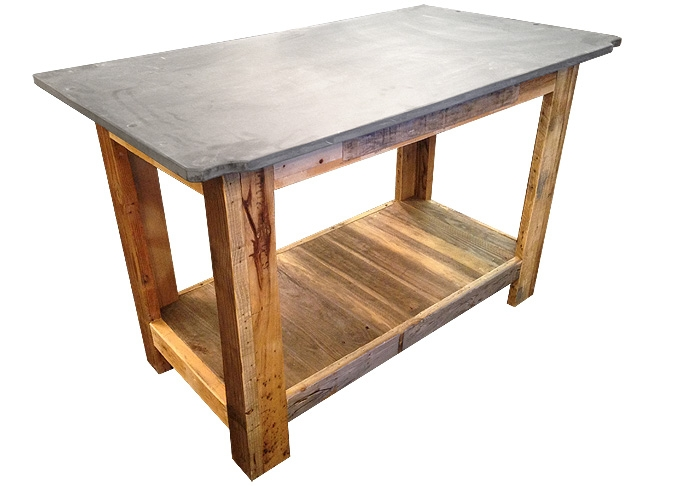Recycled repurposed wood kitchen island bar table