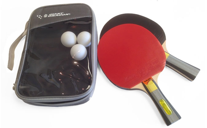 Karate ping pong paddle set of 2 rackets and 3 balls