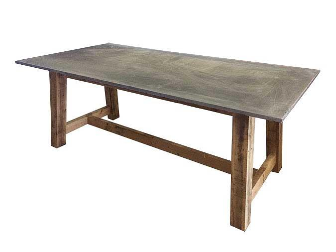 White Cedar Wood Outdoor Dining Table With Repurposed Billiard Slate Top ...