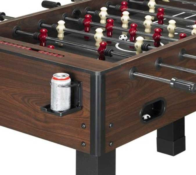 Dark brown simulated wood finish foosball soccer table