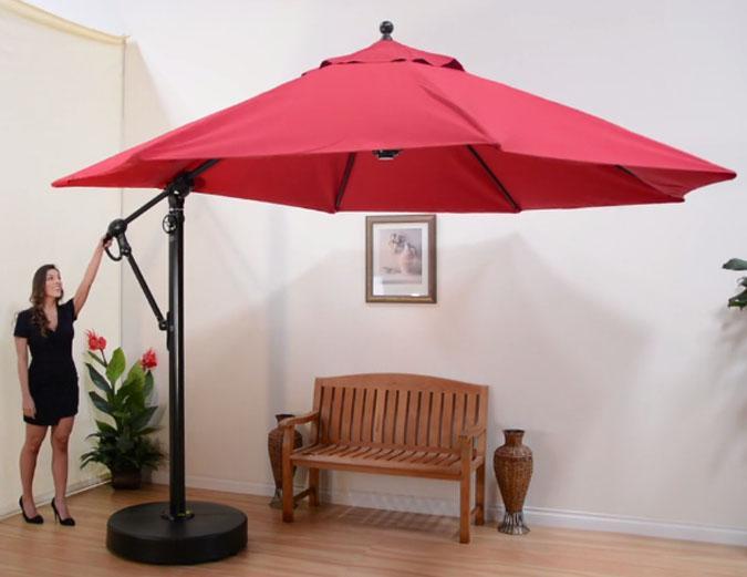 Parasol octogonal d port de 11 pieds avec tissu sunbrella - Parasol deporte rouge ...