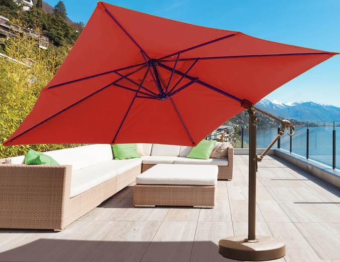Parasol carr d port de 10 pieds avec tissu sunbrella rouge - Parasol deporte rouge ...