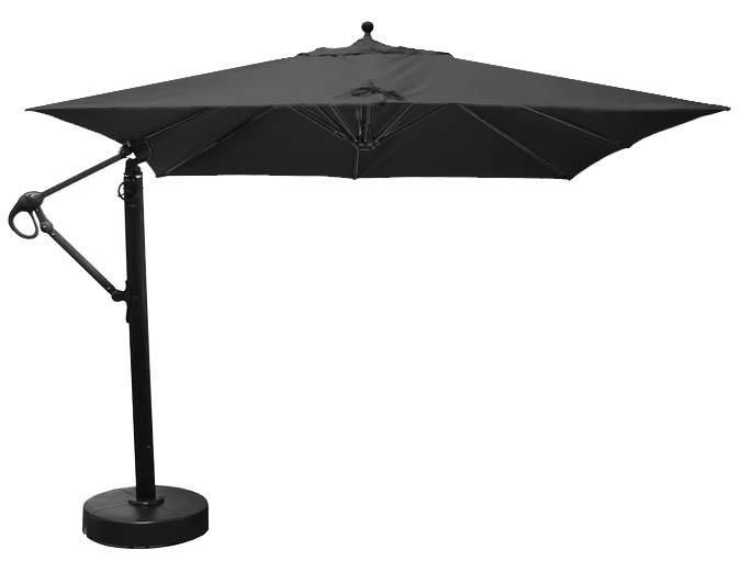 10 foot square cantilever patio umbrella with black Sunbrella fabric