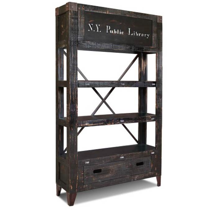 Graffiti rustic industrial bookcase style back bar shelves