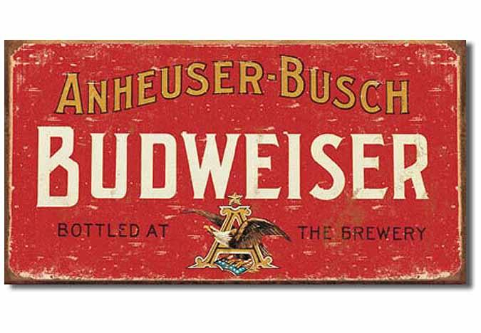 Vintage looking Budweiser metal sign