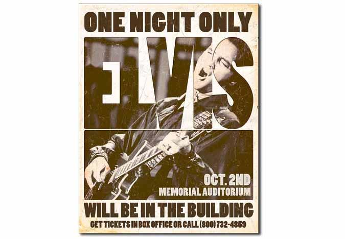 Vintage looking Elvis One Night Only metal sign