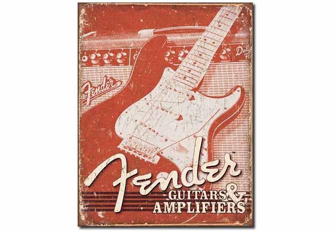Antique vintage looking Fender guitar metal sign