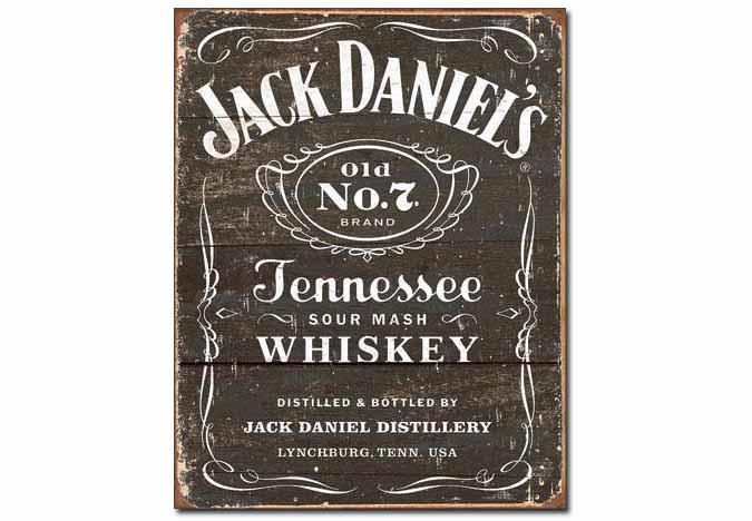 Affiche retro en métal Jack Daniel's à aspect antique