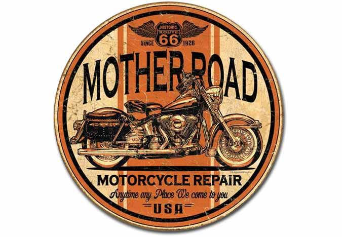 Enseigne en étain Motocyclette Mother Road Repair