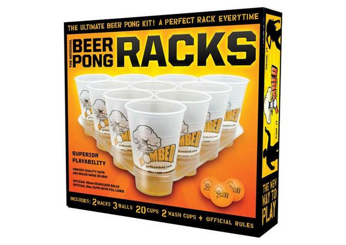 Beer pong rack glass tray kit
