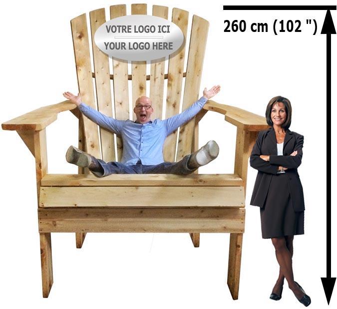 Chaise Adirondack géante promotionnelle pour publicité