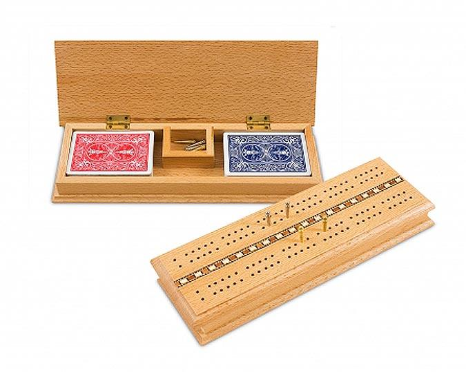 Deluxe wooden cribbage box set