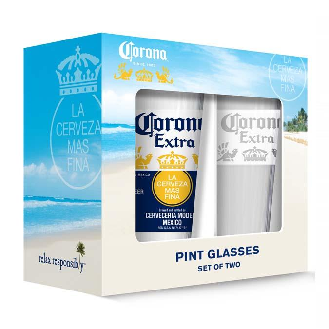 Set of 2 Corona beer pint glasses