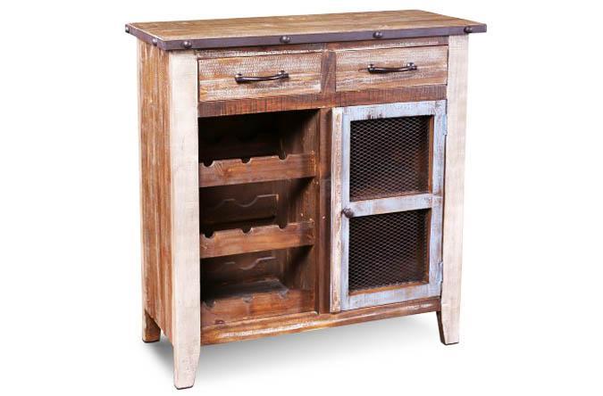 Rustic repurposed looking wood bar cabinet
