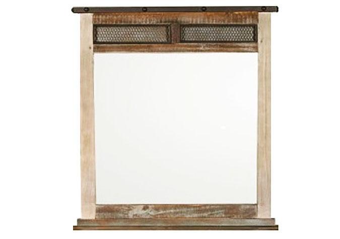 Rustic looking wooden bar mirror