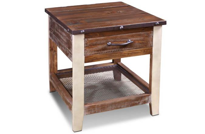 Urban Loft rustic wood end table