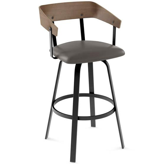 Carson Metal Stool With Wood Backrest