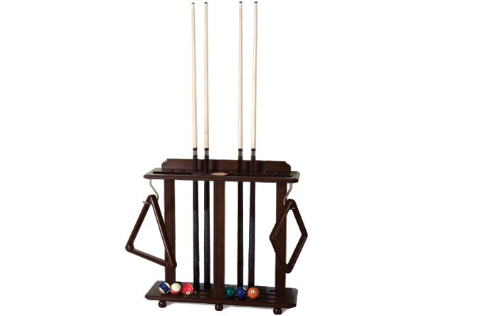 Brown floor stand pool cue rack