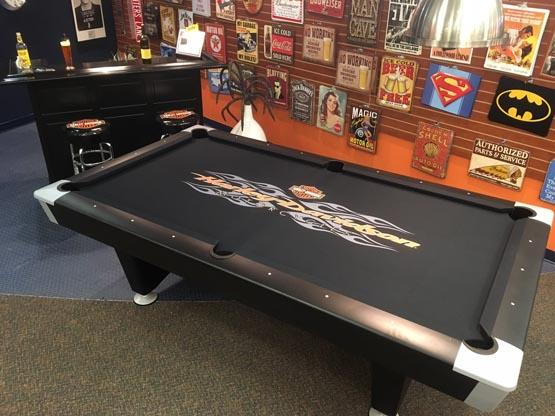 4 X 8 Harely Davidson Radical Flames Pool Table Cloth