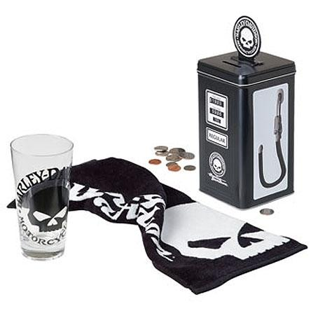 Harley Davidson glass, towel and metal bank gift set