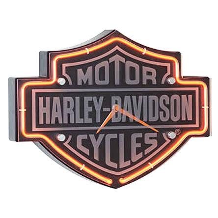 Harley Davidson shield logo neon bar clock