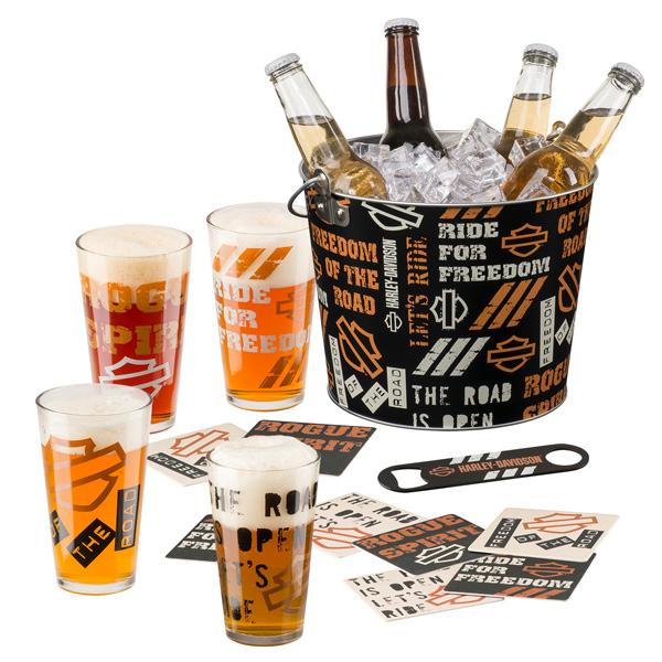Harley Davidson ice bucket and glasses gift set