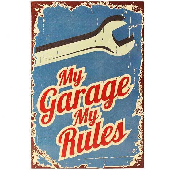 My Garage My Rules retro metal sign