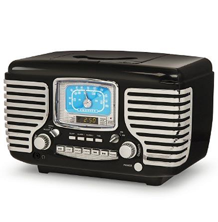 Crosley Corsair Black Vintage Style Bluetooth Alarm Clock Radio