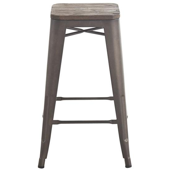 Forge distressed grey 26 inch industrial wood and metal bar stool