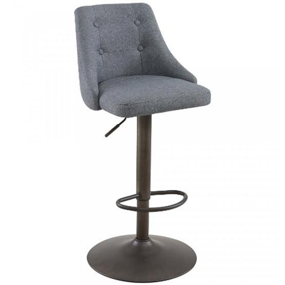 Grey Fabric Adjustable Bar Stool With Footrest