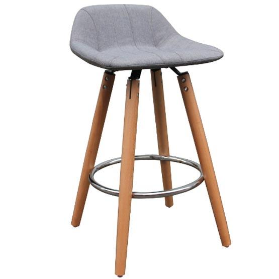 Grey Fabric Bar Stool With Wooden Legs