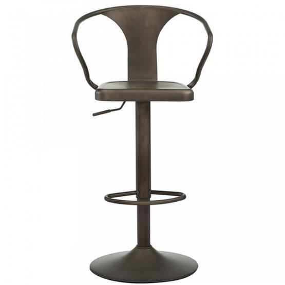 tabouret de bar ajustable en m tal rustique. Black Bedroom Furniture Sets. Home Design Ideas